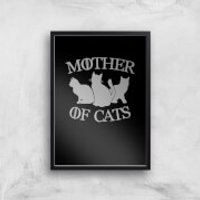 Mother Of Cats Black Tee Art Print - A3 - Black Frame