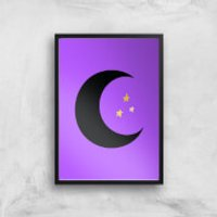 Moon & Stars Art Print - A3 - Black Frame