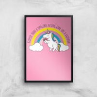 Happier Than A Unicorn Eating Cake Art Print - A3 - Black Frame - Eating Gifts