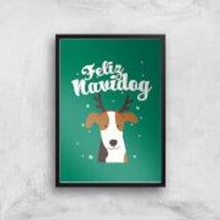 Feliz Navidog Art Print - A3 - Black Frame