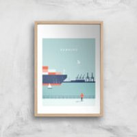 Hamburg Art Print - A2 - Wood Frame