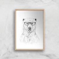 Balazs Solti Polar Bear and Glasses Art Print - A2 - Wood Frame