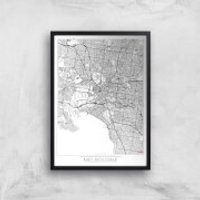 City Art Black and White Outlined Melbourne Map Art Print - A3 - Black Frame