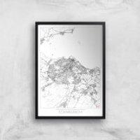 City Art Black and White Outlined Edinburgh Map Art Print - A3 - Black Frame