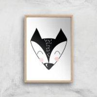 Fox Art Print - A3 - White Frame