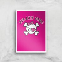 Pirate Girl Art Print - A3 - White Frame
