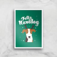 Feliz Navidog Art Print - A3 - White Frame