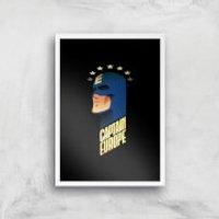 Captain Europe Art Print - A3 - White Frame