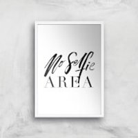 PlanetA444 No Selfie Area Art Print - A3 - White Frame - Selfie Gifts