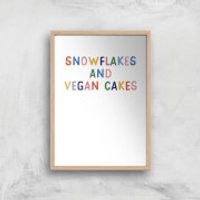 Snowflakes And Vegan Cakes Art Print - A3 - Wood Frame - Cakes Gifts