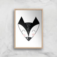 Fox Art Print - A3 - Wood Frame