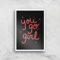 You Go Girl Art Print - A3 - Wood Frame