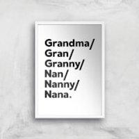 Gran's And Nan's Art Print - A3 - Wood Frame