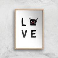 Cat Love Art Print - A3 - Wood Frame - Cat Gifts
