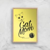 Cat Mom Art Print - A3 - Wood Frame - Cat Gifts