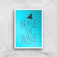 Brave The Wave Art Print - A3 - Wood Frame