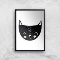 Cat Art Print - A4 - Black Frame - Cat Gifts