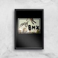 BMX Jump Art Print - A4 - Black Frame - Bmx Gifts