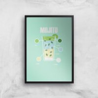 Mojito Art Print - A4 - Black Frame - Mojito Gifts