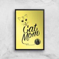 Cat Mom Art Print - A4 - Black Frame - Cat Gifts