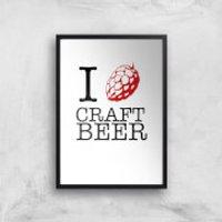 I Hop Craft Beer Art Print - A4 - Black Frame - Craft Gifts