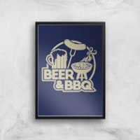 Beer and BBQ Art Print - A4 - Black Frame