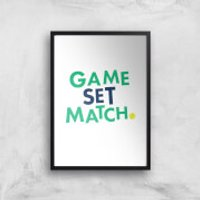 Game Set Match Art Print - A4 - Black Frame