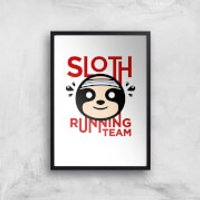 Sloth Running Team Art Print - A4 - Black Frame - Athletics Gifts