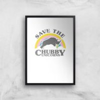 Save The Chubby Unicorns Art Print - A4 - Black Frame - Unicorns Gifts