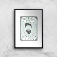 The Hipster Art Print - A4 - Black Frame - Hipster Gifts