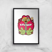 Hippie Psychedelic Cartoon Art Print - A4 - Black Frame - Hippie Gifts