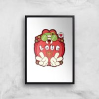 Hippie Love Cartoon Art Print - A4 - Black Frame - Hippie Gifts