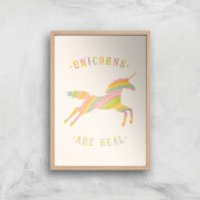 Florent Bodart Unicorns Are Real Art Print - A3 - Wood Frame - Unicorns Gifts