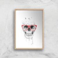 Balazs Solti Skull and Glasses Art Print - A3 - Wood Frame - Glasses Gifts