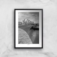 Conwy Castle Bridge Giclee Art Print - A4 - Black Frame