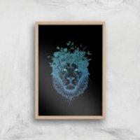 Balazs Solti Lion and Butterflies Art Print - A3 - Wood Frame - Butterflies Gifts