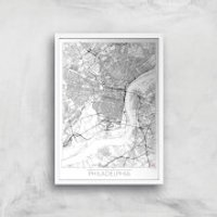 City Art Black and White Outlined Philadelphia Map Art Print - A3 - Wood Frame