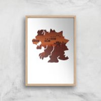 Nintendo Super Mario Bowser Silhouette Art Print - A3 - Wood Frame - Mario Gifts