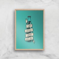 Sun Beer Sand Relax Art Print - A3 - Wood Frame - Sand Gifts