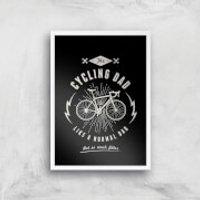 Cycling Dad Art Print - A3 - Wood Frame