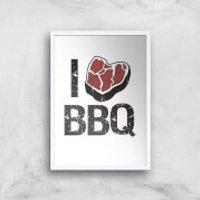 I Love BBQ Art Print - A3 - Wood Frame