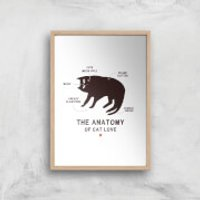 The Anatomy Of Cat Love Art Print - A3 - Wood Frame - Cat Gifts