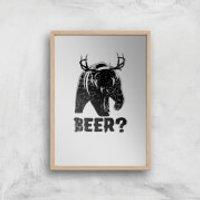 Beer Bear Deer Art Print - A3 - Wood Frame