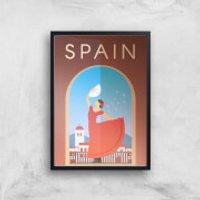 Visit... Spain Giclée Art Print - A4 - Black Frame - Spain Gifts
