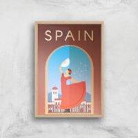 Visit... Spain Giclée Art Print - A3 - Wooden Frame - Spain Gifts