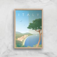 Visit... Italy Giclée Art Print - A4 - Wooden Frame - Italy Gifts