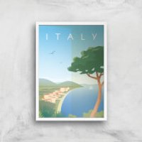 Visit... Italy Giclée Art Print - A4 - White Frame - Italy Gifts