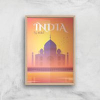 Visit... India Giclée Art Print - A4 - Wooden Frame - India Gifts
