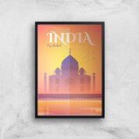 Visit... India Giclée Art Print - A4 - Black Frame - India Gifts