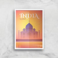 Visit... India Giclée Art Print - A3 - White Frame - India Gifts